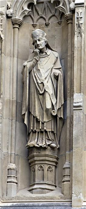Statue of Langton from the exterior of Canterbury Cathedral