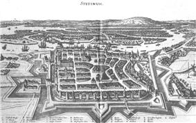 Print showing a city surrounded by walls and water