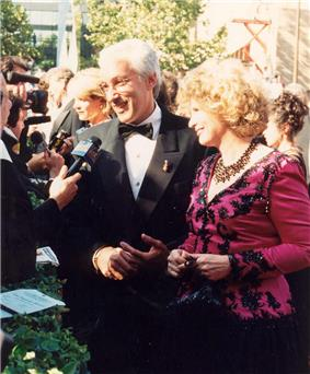 Steven Bochco and wife Barbara Bosson on the red carpet at the Emmys in 1994