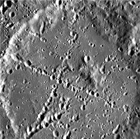 Crater Stevenson, with s forming an 'x' across its surface