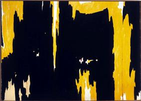 An abstract painting in yellow and black.