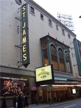 Wide angle photo showing facade of St. James Theatre
