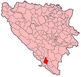 Location of Stolac Municipality within Bosnia and Herzegovina.