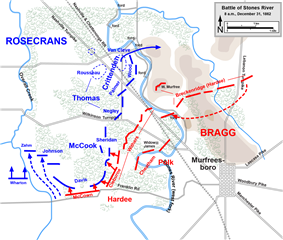 Colored lines show the front lines where the Rosencrans meet the Bragg.