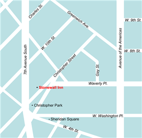 A color digital map of the Greenwich Village neighborhood surrounding the Stonewall Inn in relation to the diagonal streets that make small triangular and other oddly shaped city blocks
