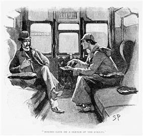 Holmes (in deerstalker hat) talking to Watson (in a bowler hat) in a railway compartment