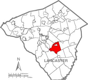 Map of Lancaster County, Pennsylvania highlighting Strasburg Township