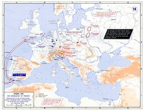 Map showing French armies concentrated in Western Europe. Austrian armies are concentrated in Central Europe and the Russians are heading west from Eastern Europe.