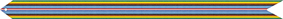 A multicolored streamer with (from outer to inner) green, yellow, brown, black, light blue, dark blue, white, and red horizontal stripes