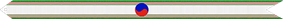 A white ribbon with vertical green and red stripes on its edges and a red and blue circle in the middle