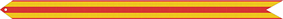 A streamer with three horizontal red stripes and two horizontal gold stripes
