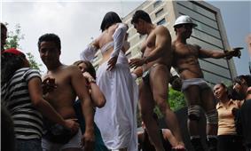 Go-go dancers in costume at gay-pride parade