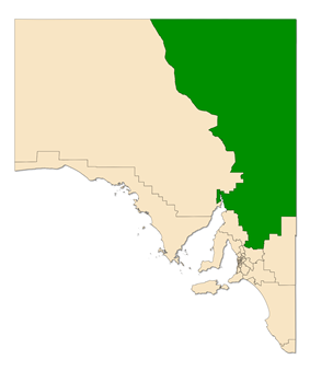 Map of South Australia with electoral district of Stuart highlighted
