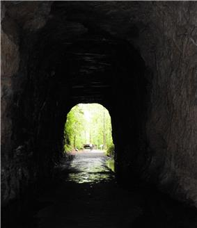 Looking out of Stumphouse Tunnel