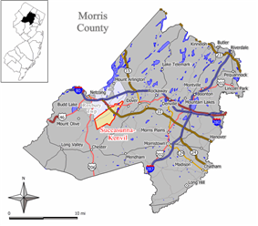 Map of former Succasunna-Kenvil CDP in Morris County. Inset: Location of Morris County in New Jersey.