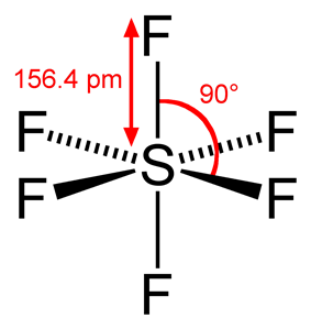 Skeletal formula of sulfur hexafluoride with assorted dimensions