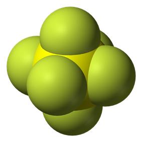 Spacefill model of sulfur hexafluoride