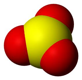 Space-filling model of sulfur trioxide