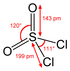 Structure and dimensions of sulfuryl chloride