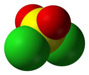 Ball-and-stick model of sulfuryl chloride