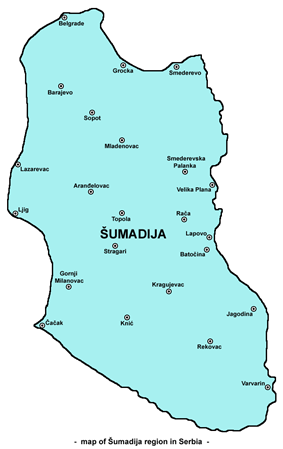 Map of Šumadija region, including its entire geographical area