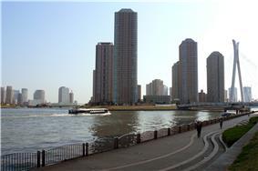 Skyline of Chūō Ward by Sumida River