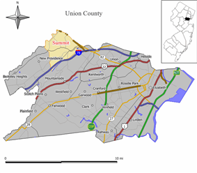 Location of Summit within Union County and state of New Jersey