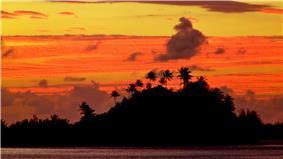 Sunrise over Marara Beach and Motu, Bora Bora, French Polynesia, 3 July, 2012.JPG