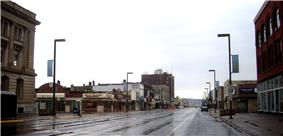 Downtown Superior;Duluth is on the horizon.