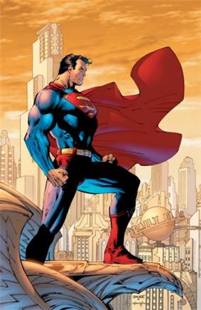 Superman standing on an eagle gargoyle, with the Metropolis skyline behind him.