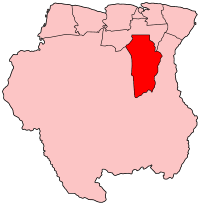 Map of Suriname showing Brokopondo district