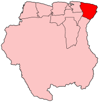 Map of Suriname showing Marowijne district
