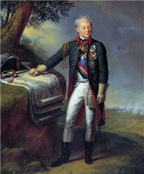 A full length portrait of Alexander Suvorov. He is shown as a dynamic elderly man with aquiline features, windblown hair and eyebrows that are raised quizzically. He wears a military cape and clasps his sword hilt.