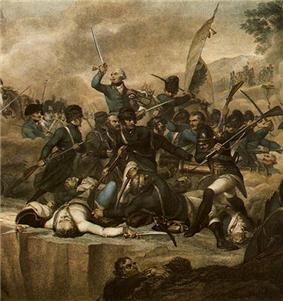 Colored print showing a number of soldiers striking with swords and thrusting with bayonets.