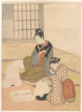 Colour print of two finely dressed Japanese women by a heater.  The wallpaper and other items are extensively embossed.