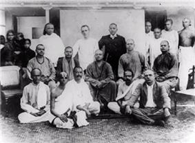 A group photo of Vivekananda and his disciples.