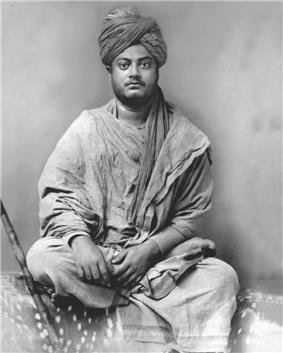 Vivekananda sitting, black and white image