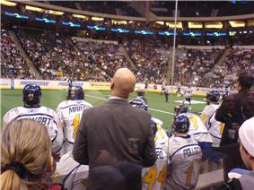 behind the bench of the Minnesota Swarm