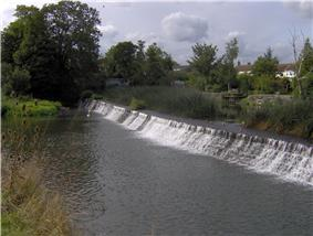 A weir with water flowing from right to left, surrounded by trees and vegetation.