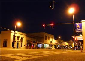 Downtown Sylacauga by night