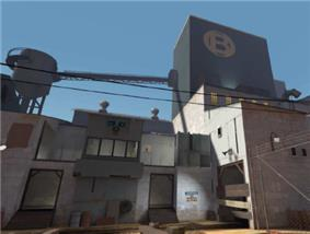 The exterior of a BLU base on the same map, using cooler colors, orthogonal shapes and metal construction