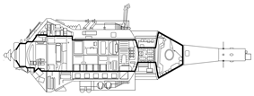 Cutaway of TKS vehicle. Details are conjectural. The broad black line outlines the vehicle's pressurized compartments. A tunnel (stippled) connects the FGB and VA spacecraft