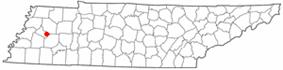 Location of Gadsden, Tennessee
