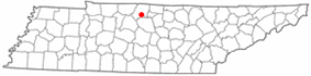 Location of Gallatin, Tennessee