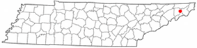 Location of Johnson City in Tennessee