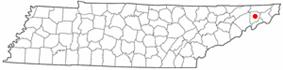 Location of Jonesborough, Tennessee