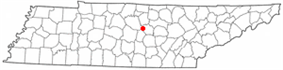 Location of Liberty, Tennessee