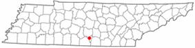 Location of Lynchburg, Tennessee