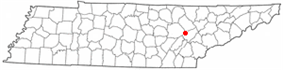 Location of Rockwood, Tennessee