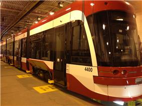 A prototype of the new TTC streetcar.